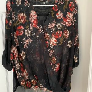 Black floral blouse with 3/4 length sleeve